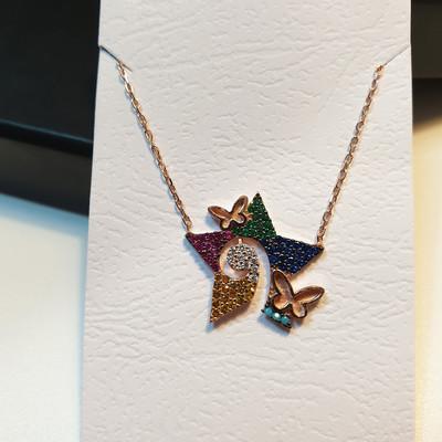 Renkli Taşlı Yıldız Kelebek Kolye - Thumbnail